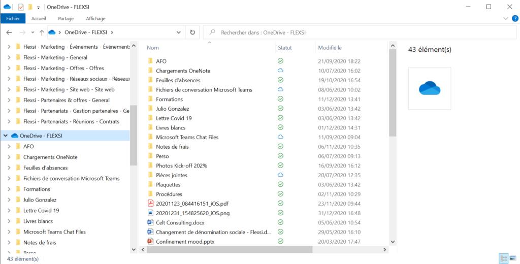 OneDrive dans l'explorateur de fichiers Windows