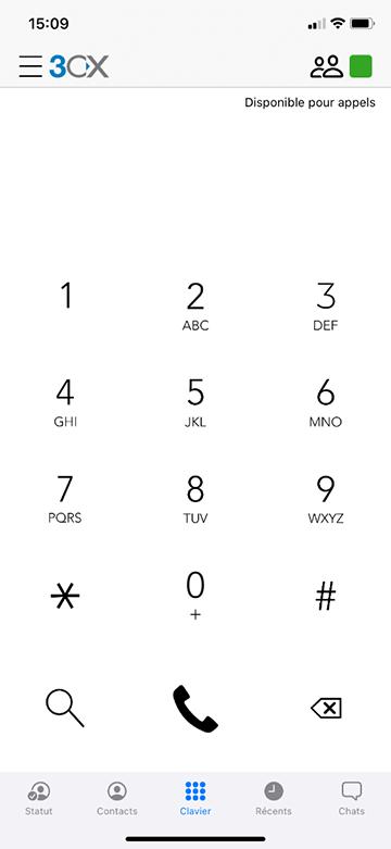 Capture d'écran de l'application smartphone de 3CX