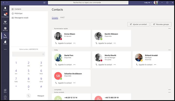 Capture d'écran de l'onglet appels de Microsoft Teams