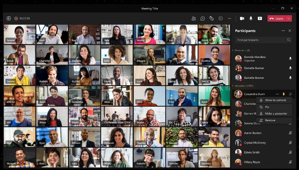 Microsoft Teams Webinaire 1000 personnes