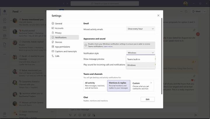 Notifications Windows 10 pour Microsoft Teams