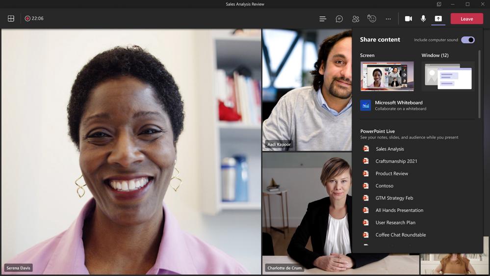 Expérience améliorée pour le partage de contenu lors d'une réunion sur Microsoft Teams