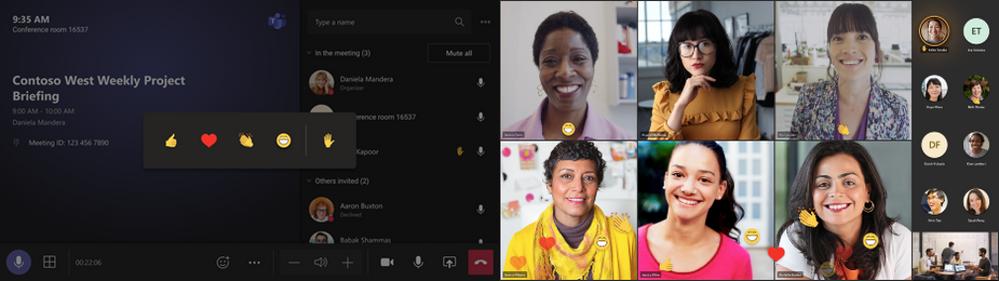 Réactions lives dans Microsoft Teams Room