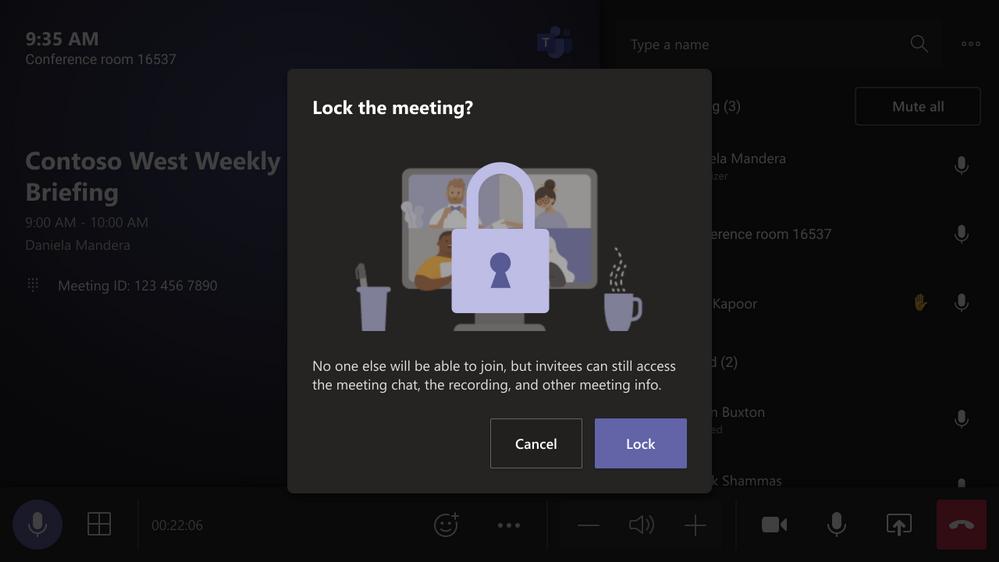 Verrouillage de réunion dans Microsoft Teams Rooom