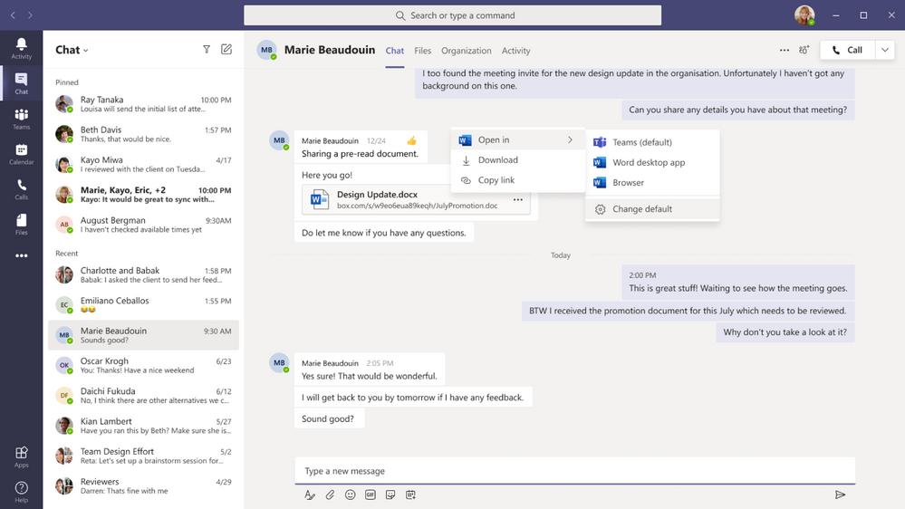 Nouveau paramétrage par défaut d'ouverture des fichiers Office dans Microsoft Teams